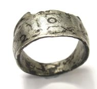 Roman TOT Ring. Circa 1st-4th century AD. Silver, 6.91 grams. 24.91 mm, internal: 19.90 mm. A