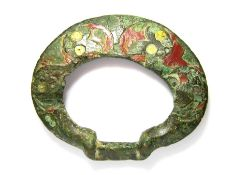 Iron Age Terret Ring. Circa 100 BC - 100 AD. Copper-alloy,  A bronze terret ring of the flat-ring