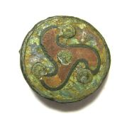 Roman Triskele Disk Brooch. Circa, 2nd century AD. Copper-alloy, 4.42 grams, 20.65 mm. A disk type
