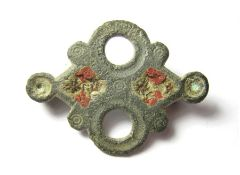 Roman Brooch. Circa, 2nd century AD. Copper-alloy, 4.63 grams. 34.76 mm. A Roman open-work, equal-