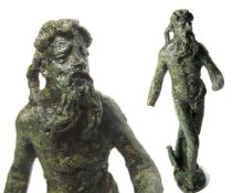 Roman Statuette of Neptune/Poseidon. Circa 1st-4th century AD. Copper-alloy, 147.7 grams. 108.5