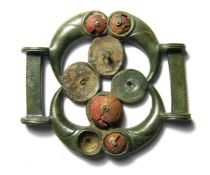 Celtic Strap-Junction.  Circa, 100 BC - 100 AD. Copper-alloy, 97.81 grams. 75.21mm x 65.37mm. A