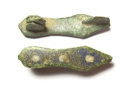 Roman Slipper Brooch.  Circa 2nd century AD. Copper-alloy, 3.67 grams. 35.30 mm. A copper alloy