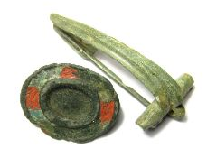 Roman Brooches. Circa 2nd-3rd century AD. Copper-alloy, 25.85 mm, 45.92 mm. a lot of two Roman