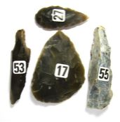 Ancient Stone Tools.  Circa 40,000 - 10,000 BC. A group of flint tools from the Upper Paleolithic