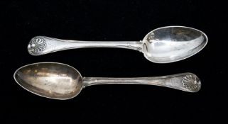 Paul Storr: A pair of George III Old English, thread and shell table spoons, each engraved with a