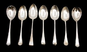 A collection of silver table spoons to include: A pair of Old English, by James Dixon & Sons,