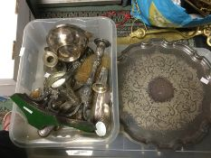 A collection of silver, plate and EPNS to include: A French silver plate Christofle two handled