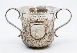 A George II silver loving / porringer cup, the waisted body with flared rim, upper rope twist