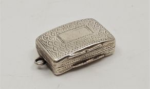 A George IV silver rectangular vinaigrette, by John Shaw, assayed Birmingham 1820, curved to back,