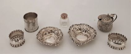 A Victorian silver heart shaped silver bon bon dish, by Florence Warden, assayed Chester 1898,
