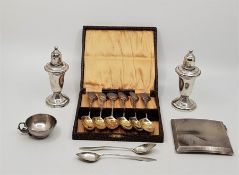 A set of six silver and enamel teaspoons, by Robert Pringle & Sons, Birmingham 1919, with