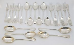 A matched part set of old English pattern silver flatware for six, to include; six each silver table