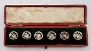 A set of six Art Nouveau white metal buttons, each diameter 17mm and stamped Rd.No. 352928 verso, in