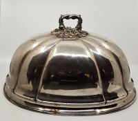 A large 19th century silver plated meat cover, length 45.4cm x width 33cm.