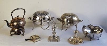 A collection of silver plated table and flatware, to include: Kettle on stand with burner,