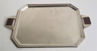 A French Art Deco silver plated tray, with hardwood inset handles, impressed marks to base, length