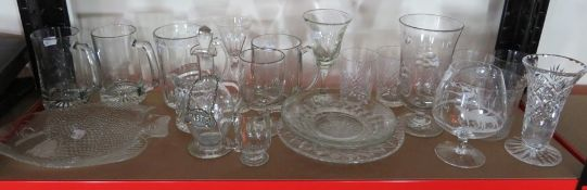 A collection of 19th/20th century plain and cut glass table ware including Scottish stemmed wine,