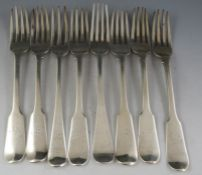 A mostly 19th century composite set of eight silver table forks of mixed design, dates and makers