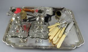 A collection of EPNS and Sheffield plated items including cased fish servers and other items. (a job