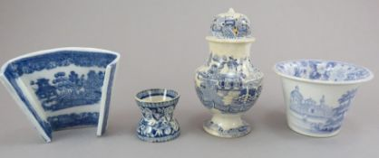 A group of early nineteenth century blue and white transfer-printed wares c.1800-30. To include: A
