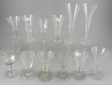 A short George III wrythen conical dwarf ale glass with folded foot. Together with a collection of