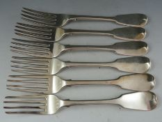 """A set of six William IV """"fiddle pattern"""" silver table forks. London 1832 by William Chawner (II). 15"""