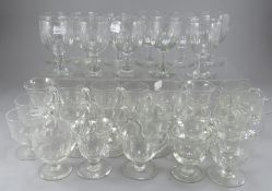A large collection of late 19th century printy cut stemming wines and a large collection of