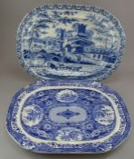 Two early nineteenth century blue and white transfer-printed platters, c.1820. To include: A