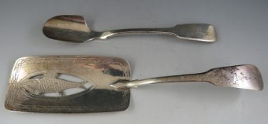 """A late William IV """"fiddle pattern"""" silver Stilton scoop bearing armorial crest. London 1835 by"""