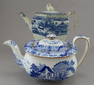 Two early nineteenth century blue and white transfer-printed teapots, c.1820. To include: A Wedgwood