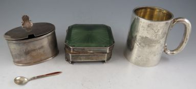 An early 20th century silver Christening mug of plain tapering form monogramed J.M.S, 7cm high.