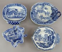 A group of four nineteenth century blue and white transfer-printed pickle dishes, c.1820. To