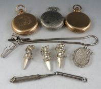 An early 20th century a Dennison gold filled cased gents full hunters keyless fob watch, together