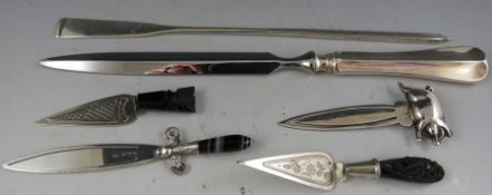 An early 20th Chinese (Hong Kong) novelty, silver letter knife in the the form of a rowing oar.