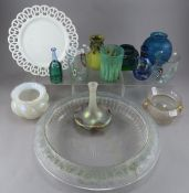 A Lalique 'Sunflowers' pattern glass circular table centre bowl with slight blue tinted frosted