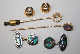 A pair of Portuguese single stone diamond set collar studs, an opal stick pin, a seed pearl set