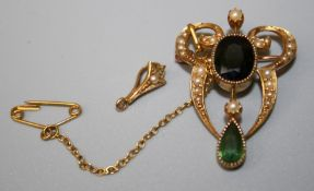 15ct pearl and tourmaline Pendant/brooch in fitted box