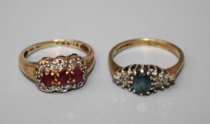 A 9ct ruby and diamond ring and a ring set blur stone and diamonds (2)