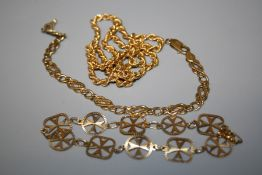 A Maltese 9ct yellow gold bracelet formed by individual Maltese crosses together with a 9ct yellow