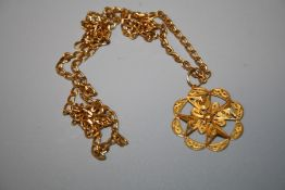 """A 9ct yellow gold flat link chain with a """"Maltese Cross"""" probably fine gold filigree pendant. 15.7"""