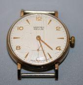 A gentleman's Vertex Revue 9ct gold presentation wristwatch. Lacking strap.