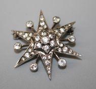 A white topaz star brooch circa 1900, probably platinum