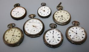 A collection of silver and base metal fob watches. All for restoration or parts. (7)