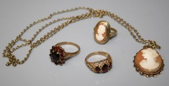 a 9ct cameo ring and 9ct cameo pendant on gilt metal chain together with a 9ct garnet cluster ring