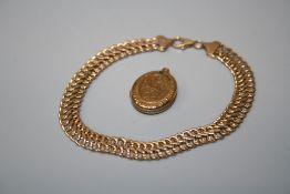 A 9ct rose gold float link bracelet and a gilt metal engraved oval locket (2)