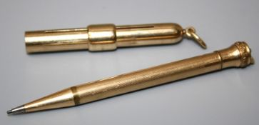 A 9ct gold telescopic pencil, rounded cylindrical with suspensory loop by Samson Morden. Together