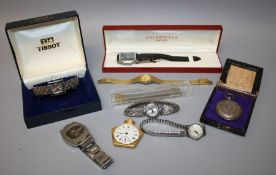 A collection of vintage ladies and gents watches including a 1970s rotary 21 jewel wristwatch,