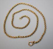 A ropetwist chain, marked 15ct.44.5cm, 8.4g