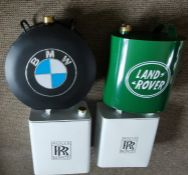 Petrol cans branded Landrover and BMW. Along with 2 Rolls Royce Motor Oil lidded containers in the